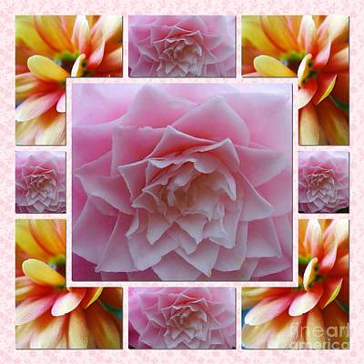 Photograph - Pink And Gold Floral Shape 2 by Joan-Violet Stretch