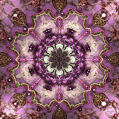 Digital Art - Pink And Gold Marble Tile by Artful Oasis