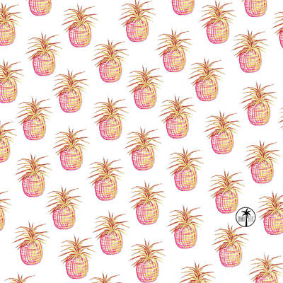 Pineapple Painting - Pink And Gold Pineapple Pattern Design From The Sunnie Tees Collection by Megan Duncanson