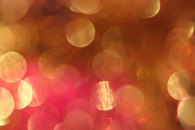 Bokeh Photograph - Pink And Gold Shimmer- Abstract Photography by Linda Woods