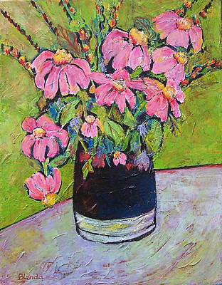 Coneflowers Painting - Pink And Green by Blenda Studio