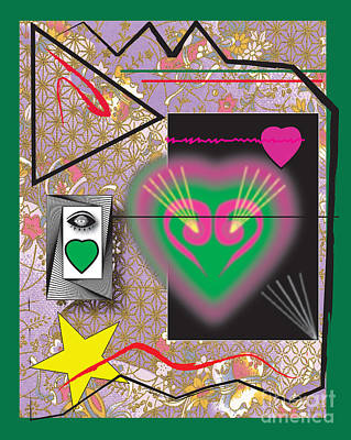 Art Print featuring the digital art Pink And Green Heart Design by Christine Perry