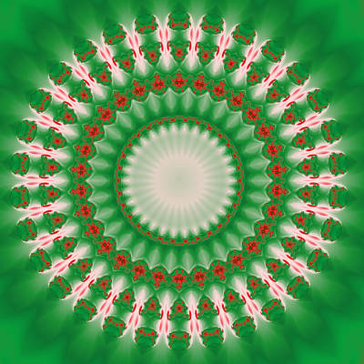 Digital Art - Pink And Green Mandala Fractal 005 by Ruth Moratz