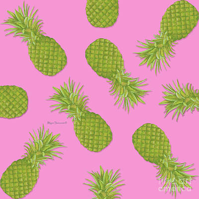 Pineapple Mixed Media - Pink And Green Pineapple Pattern Design By Megan Duncanson by Megan Duncanson