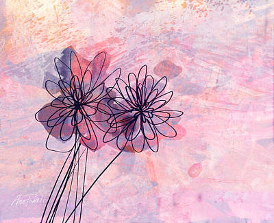 Digital Art - Pink And Lavender Abstract Flowers by Ann Powell