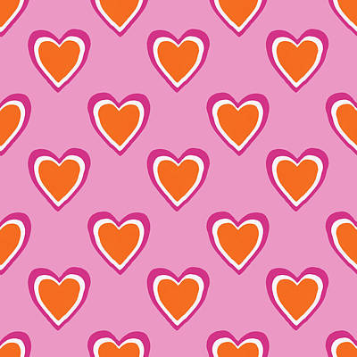 Pink And Orange Hearts- Art By Linda Woods Art Print by Linda Woods