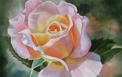 Pink Roses Painting - Pink And Peach Rose Bud by Sharon Freeman