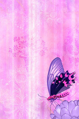 Flower Painting - Pink And Purple Butterfly Companions 2 by JQ Licensing