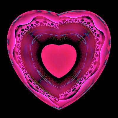 Digital Art - Pink And Red Heart On Black by Matthias Hauser