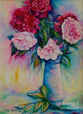 Painting - Pink And Red Peonies In Blue Vase Cut Flowers Oil Painting From My Garden By Carole Spandau by Carole Spandau