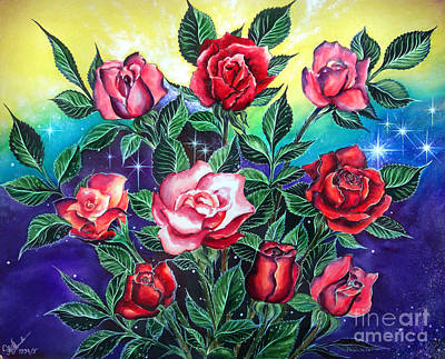 Pink And Red Roses Art Print by Sofia Metal Queen