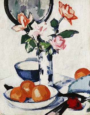 Pink And Tangerine Roses In A Blue And White Beaker Vase With Oranges In A Bowl And A Black Fan Art Print by Samuel John Peploe