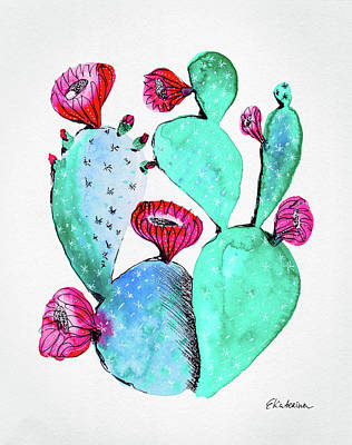 Painting - Pink And Teal Cactus by Ekaterina Chernova