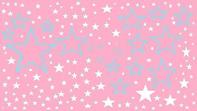 Pink And Turquoise Stars 1 Art Print by Linda Velasquez