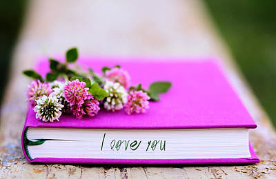 Photograph - Pink And White Clover On The Fuchsia Book by Yana Shonbina