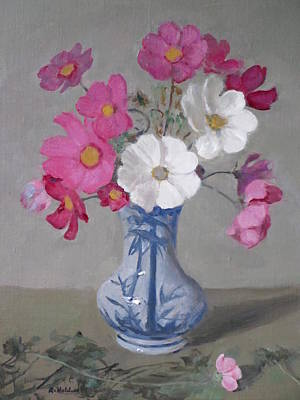 Painting - Pink And White Cosmos In Bamboo Vase by Robert Holden