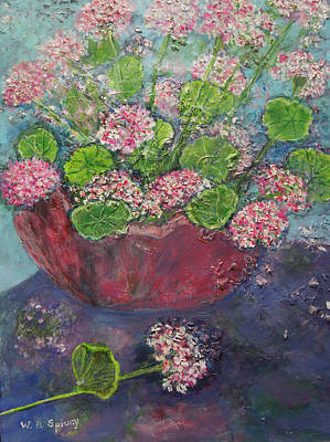 Pink And White Geraniums In A Red Pottery Vase Art Print by William Spivey