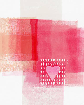 Peach Mixed Media - Pink And White Minimal Heart- Art By Linda Woods by Linda Woods