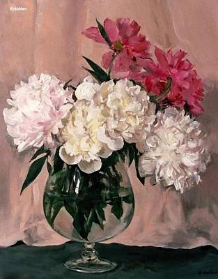 Snifter Painting - Pink And White Peonies In Brandy Snifter With Pink Background by Robert Holden