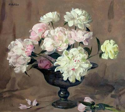 Pink And White Peonies In Silver Pedestal Bowl Art Print