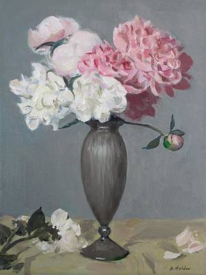 Painting - Pink And White Peonies In Slender Fluted Silver Vase by Robert Holden