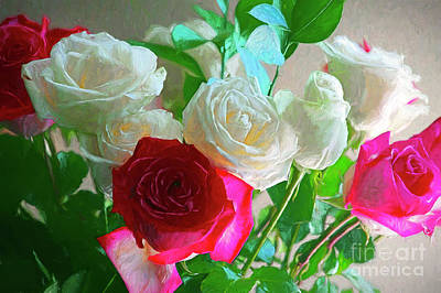 Photograph - Pink And White Roses Photo Art 2 by Sharon Talson