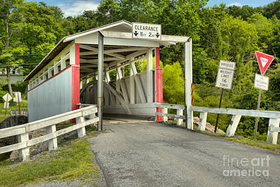 Photograph - Pink And White Ryot Covered Bridge by Adam Jewell