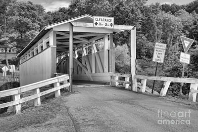 Photograph - Pink And White Ryot Covered Bridge Black And White by Adam Jewell