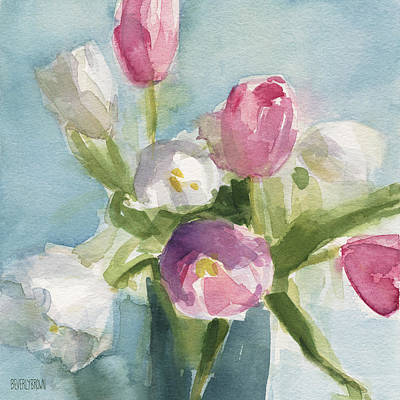 Watercolor Flower Painting - Pink And White Tulips by Beverly Brown Prints