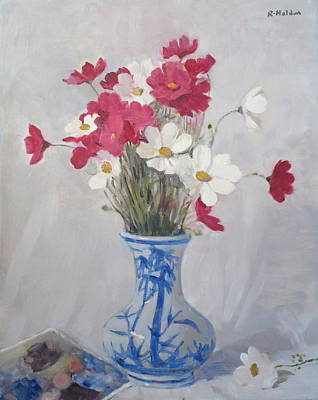 Painting - Cosmos Bouquet In Bamboo Vase by Robert Holden