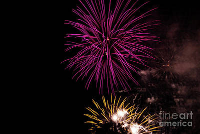 Photograph - Pink And Yellow Fireworks by Suzanne Luft