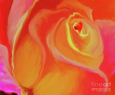 Digital Art - Pink And Yellow Rose by Elizabeth McTaggart