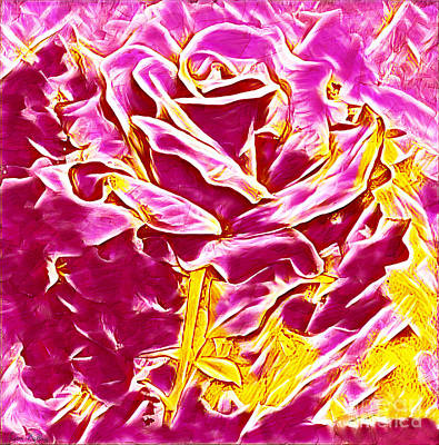 Painting - Pink And Yellow Rose by Lita Kelley