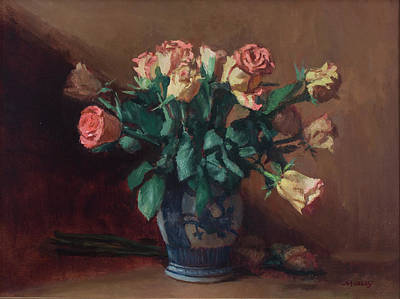 Painting - Pink and Yellow Roses in a Chinese Vase by Walter Lynn Mosley