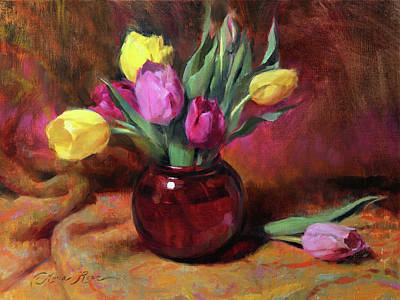 Tulips Wall Art - Painting - Pink And Yellow Tulips by Anna Rose Bain