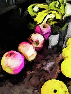 Digital Art - Pink Apples With Yellow Bananas And Lemons by Jackie VanO