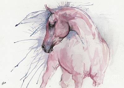 Painting - Pink Arabian Horse 2017 07 17 by Angel Ciesniarska