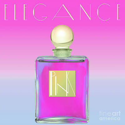 Royalty-Free and Rights-Managed Images - Pink Art Deco Perfume by Mindy Sommers