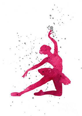 Ballet Dancers Mixed Media - Pink Ballerina Girls Room Decor by Joanna Szmerdt