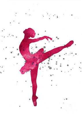 Ballet Dancers Mixed Media - Pink Ballerina Nursery Art Print  by Joanna Szmerdt