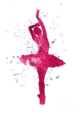 Ballet Dancers Mixed Media - Pink Ballerina Watercolor Silhouette  by Joanna Szmerdt