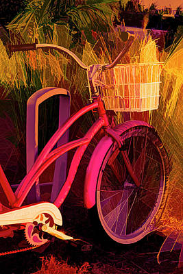 Photograph - Pink Beach Bike Abstract by Debra and Dave Vanderlaan