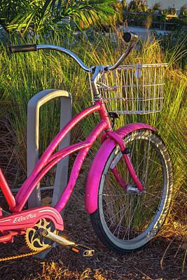 Photograph - Pink Beach Bike by Debra and Dave Vanderlaan