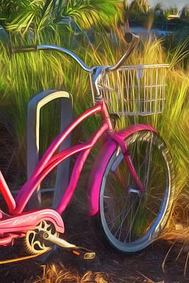 Photograph - Pink Beach Bike Watercolor Painting by Debra and Dave Vanderlaan