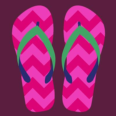 Digital Art - Pink Beach Sandals by Jennifer Hotai