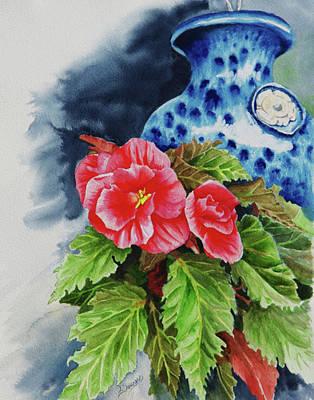 Pink Begonias Art Print by Lori Seward