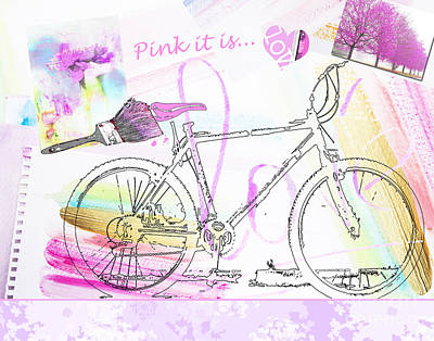 Anahi Decanio Mixed Media - Pink Bicycle by WALL ART and HOME DECOR
