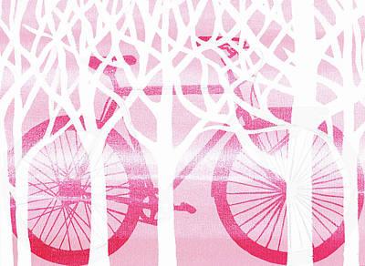Painting - Pink Bicycle White Forest Silhouette by Irina Sztukowski