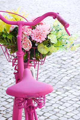 Colorful Roses Photograph - Pink Bike by Carlos Caetano