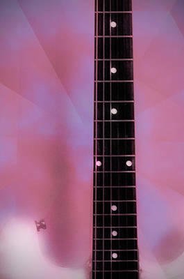 Fender Strat Digital Art - Pink by Bill Cannon